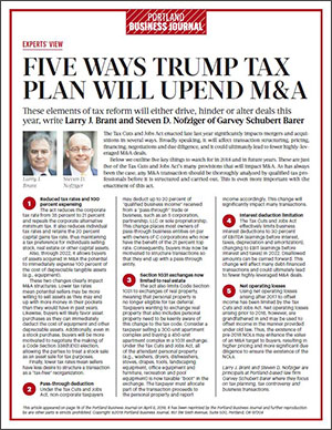 Portland Business Journal: Five Ways the Tax Cuts and Jobs Act Will Upend M&A
