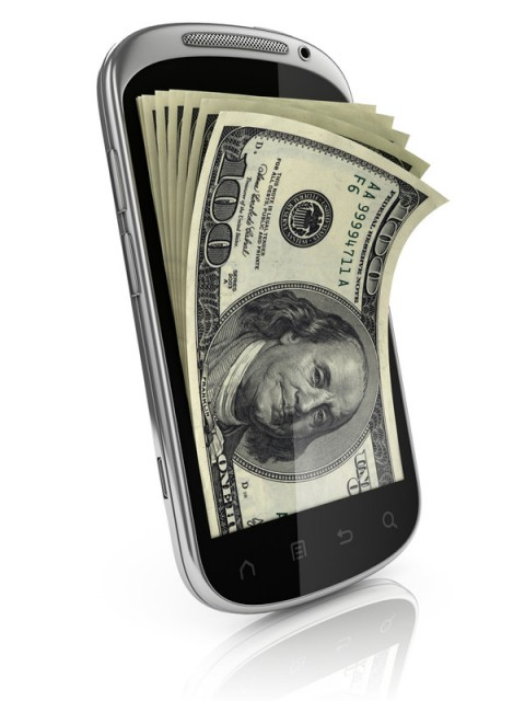Money coming out of a smart phone