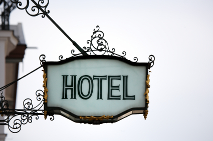 Hotel sign with white background.