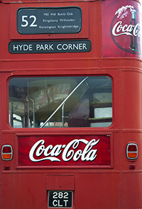 London bus with Coca-Cola ad