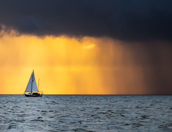 sailboat in storm