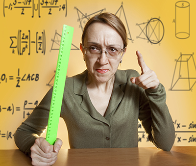 teacher with ruler