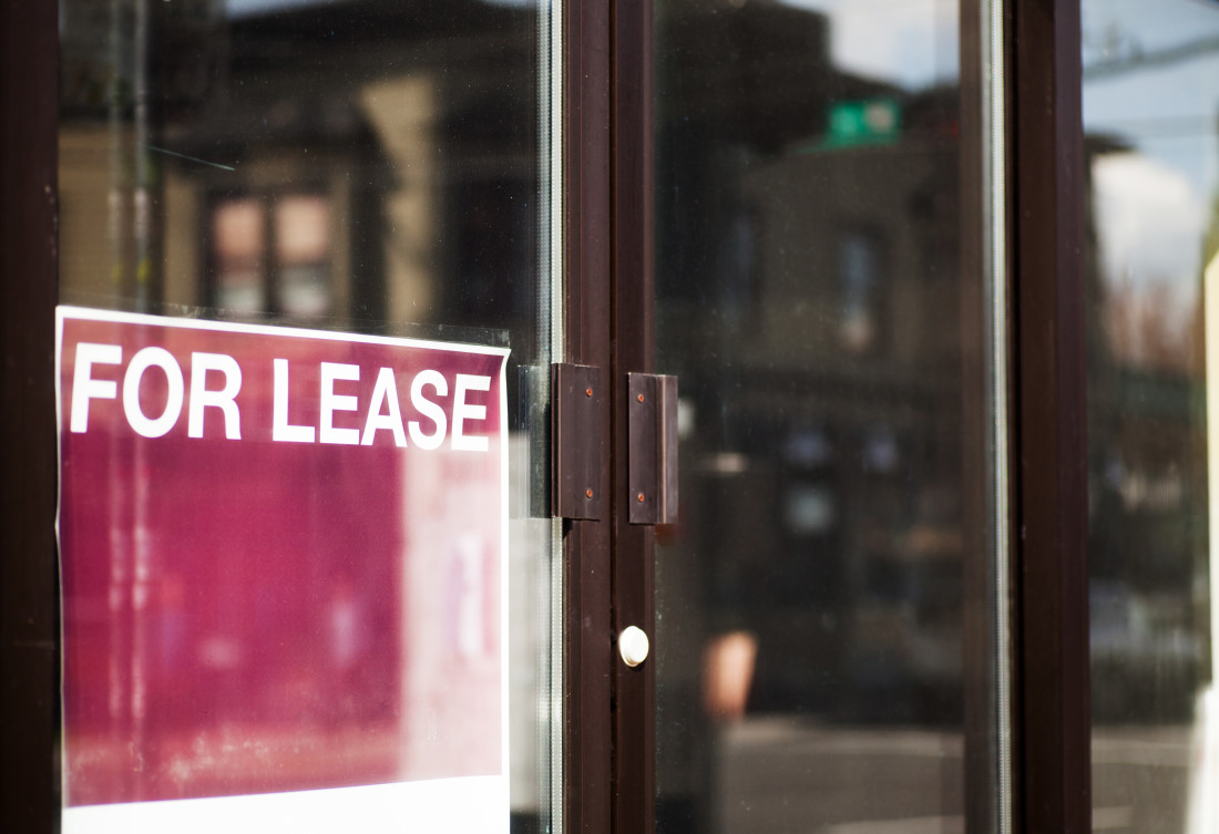 For lease sign at a retail store (commercial property)